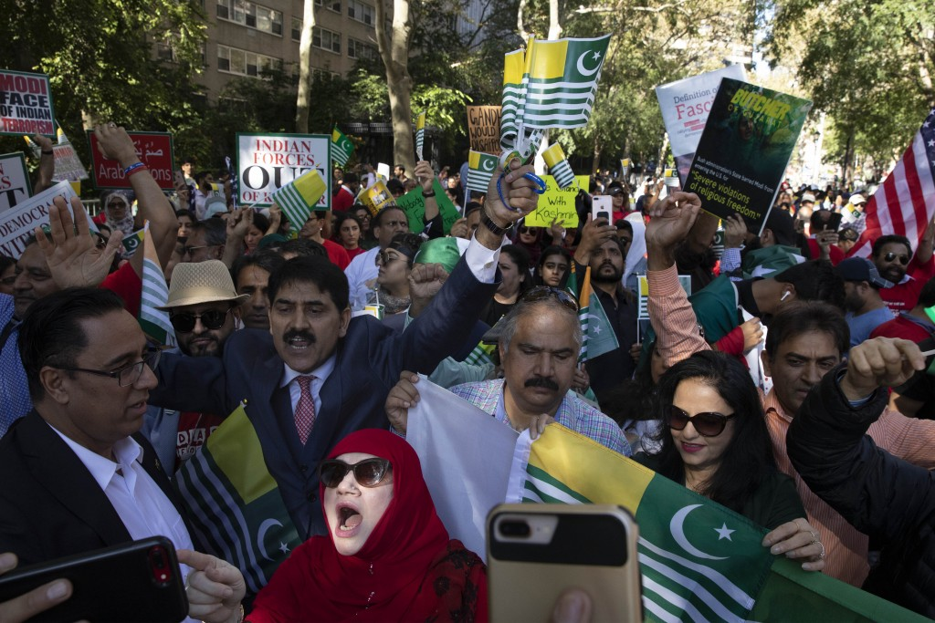 People protest outside the United Nations against Indian Prime Minister Narendra Modi's annexation of Kashmir and occupation of Punjab, Friday, Sept. ...
