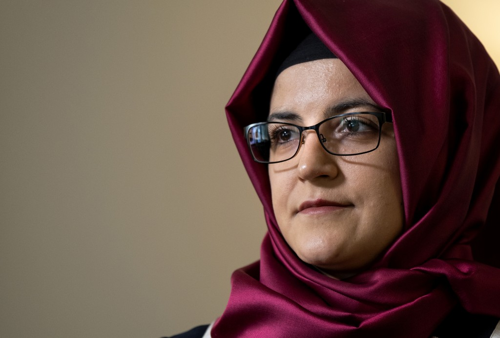 Hatice Cengiz, the fiancee of murdered Saudi journalist Jamal Khashoggi, listens to a question during an interview Thursday, Sept. 26, 2019, in New Yo...