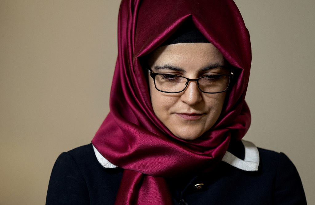 Hatice Cengiz, the fiancee of murdered Saudi journalist Jamal Khashoggi, pauses as her response to a question is translated during an interview Thursd...