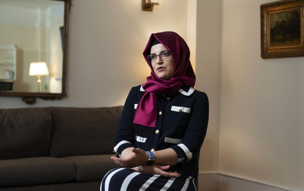 Hatice Cengiz, the fiancee of murdered Saudi journalist Jamal Khashoggi, answers a question during an interview Thursday, Sept. 26, 2019, in New York....