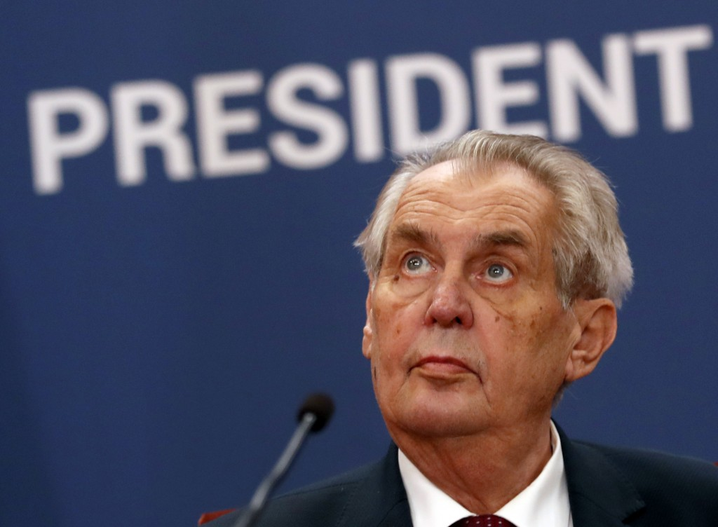 FILE - In this Wednesday, Sept. 11, 2019 file photo, Czech Republic's President Milos Zeman attends a press conference at the Serbia Palace in Belgrad...