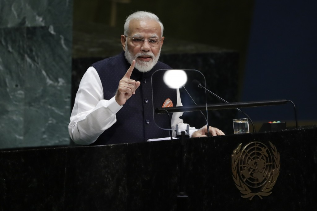 Indian Prime Minister Narendra Modi addresses the 74th session of the United Nations General Assembly, Friday, Sept. 27, 2019, at the United Nations h...