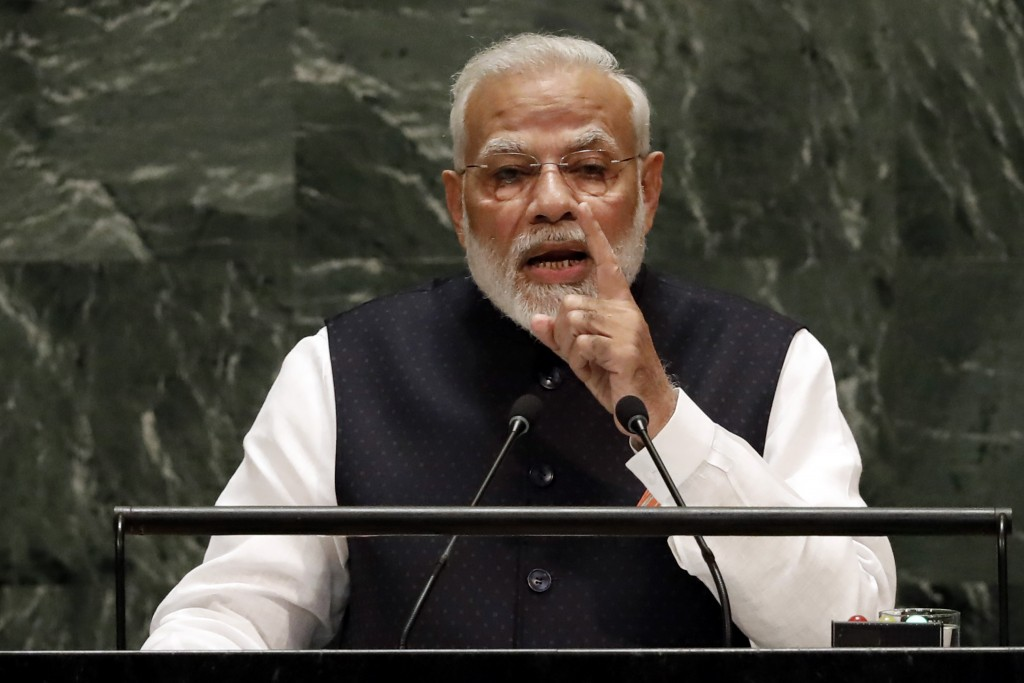 India's Prime Minister Narendra Modi addresses the 74th session of the United Nations General Assembly, Friday, Sept. 27, 2019. (AP Photo/Richard Drew...