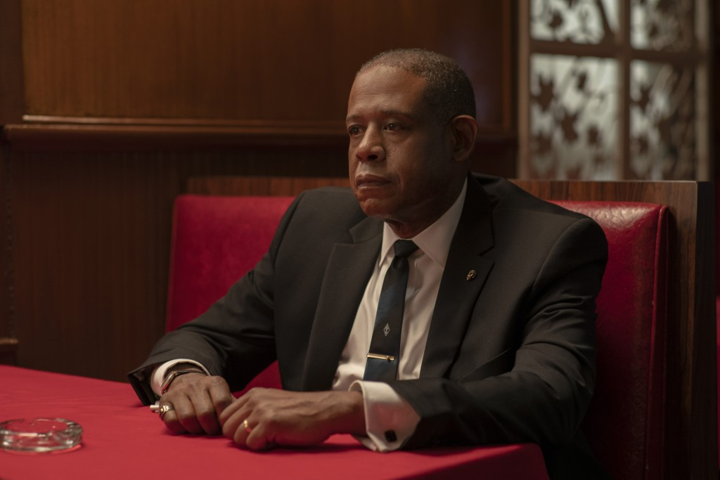 """This image released by Epix shows Forest Whitaker as Bumpy Johnson in a scene from """"Godfather of Harlem,"""" premiering Sept. 29. (David Lee/Epix via AP)"""