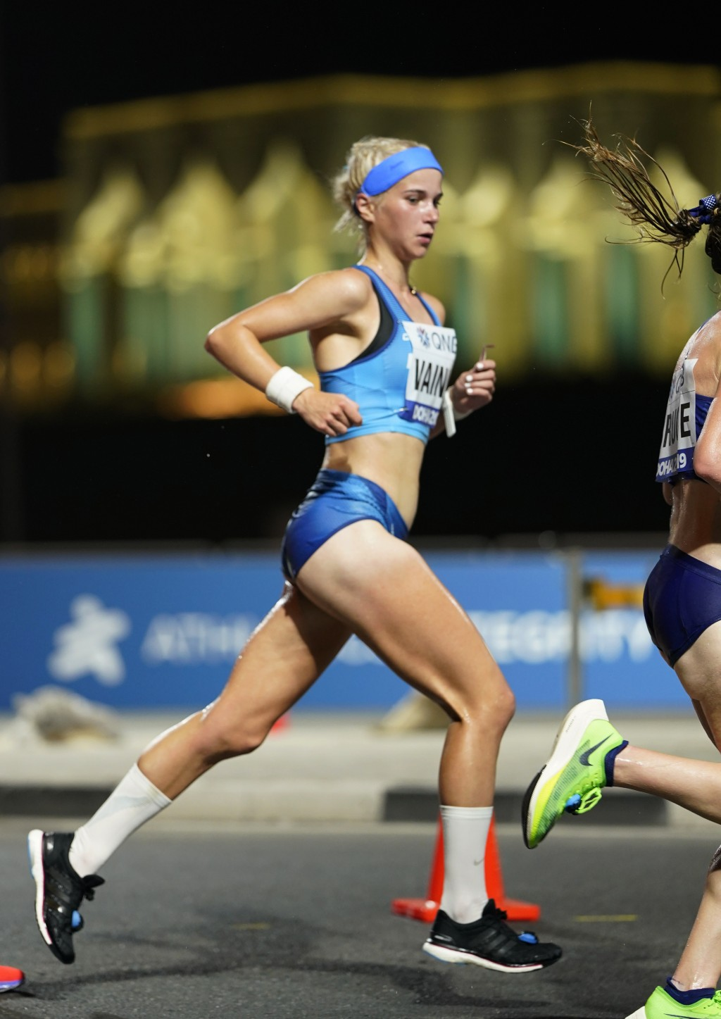 Finland's Alisa Vainio races during the women's marathon at the World Athletics Championships in Doha, Qatar, Saturday, Sept. 28, 2019. (AP Photo/Nick...