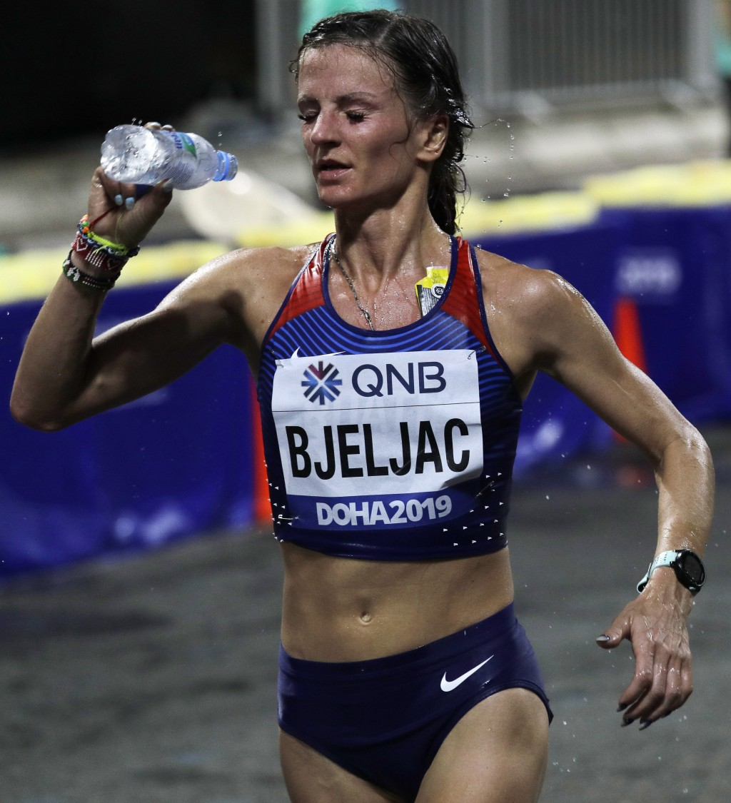Croatian Bojana Bjeljac competes during the women's marathon at the World Athletics Championships in Doha, Qatar, Saturday, Sept. 28, 2019. (AP Photo/...