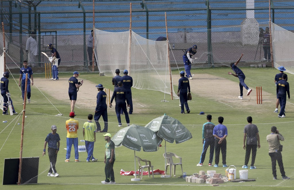Sri Lankan cricket team players participate in a practice session at National Stadium in Karachi, Pakistan, Sunday Sept. 29, 2019. Sri Lanka touring P...