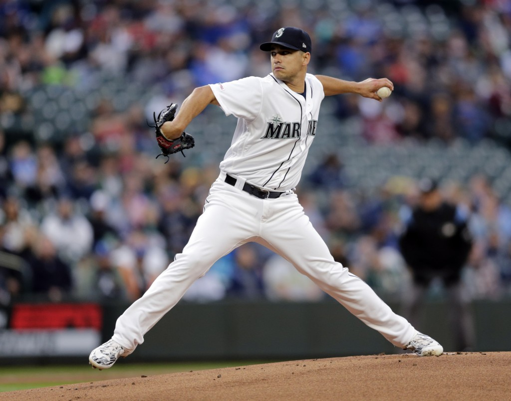 Seattle Mariners starting pitcher Marco Gonzales works against the Oakland Athletics during the first inning of a baseball game, Saturday, Sept. 28, 2...