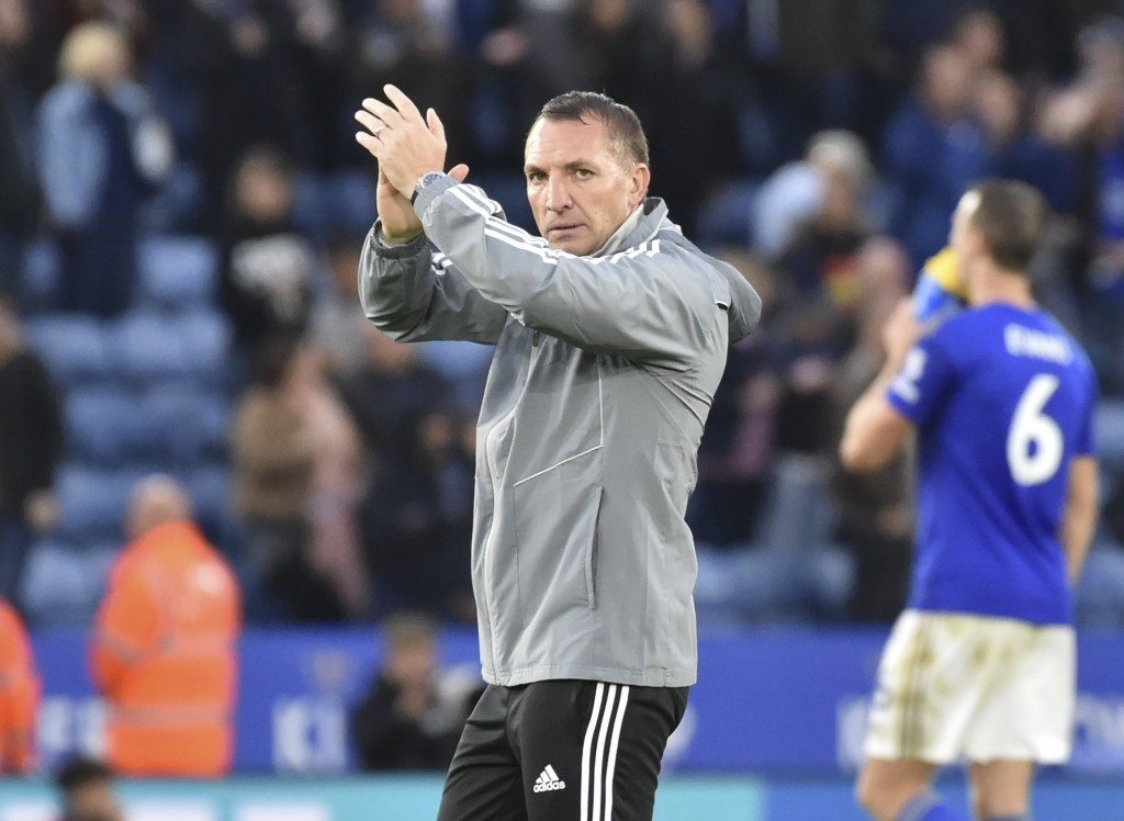 Leicester's manager Brendan Rodgers reacts after the English Premier League soccer match between Leicester City and Newcastle United at the King Power