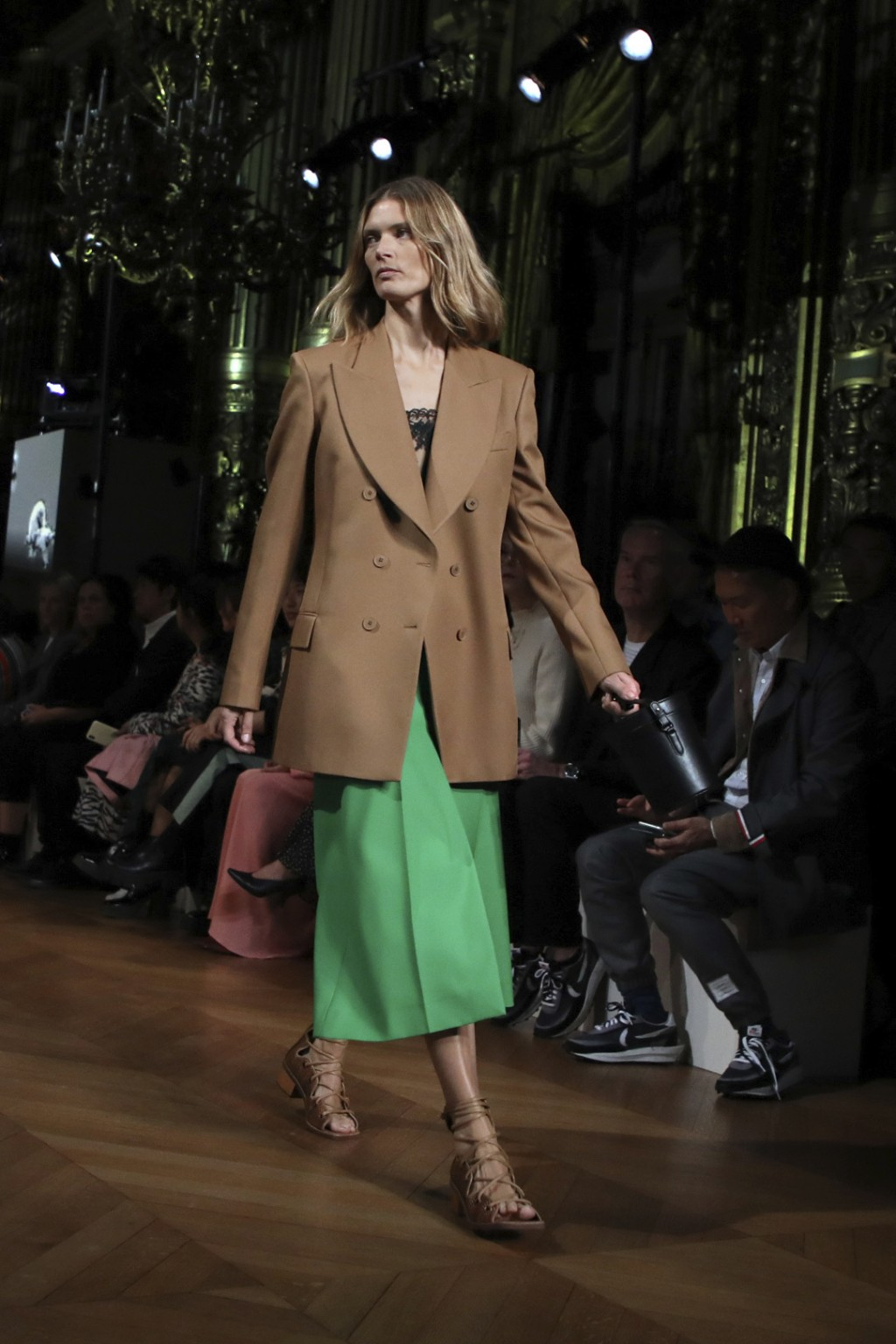 A model wears a creation as part of the Stella McCartney Ready To Wear Spring-Summer 2020 collection, unveiled during the fashion week, in Paris, Mond...