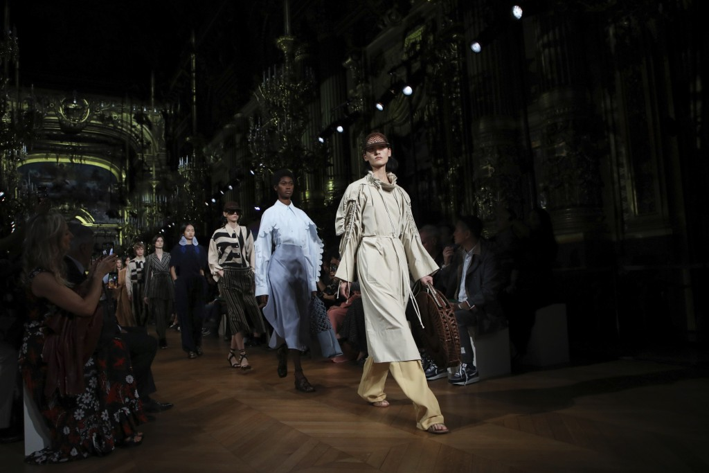 Models wear creations as part of the Stella McCartney Ready To Wear Spring-Summer 2020 collection, unveiled during the fashion week, in Paris, Monday,...