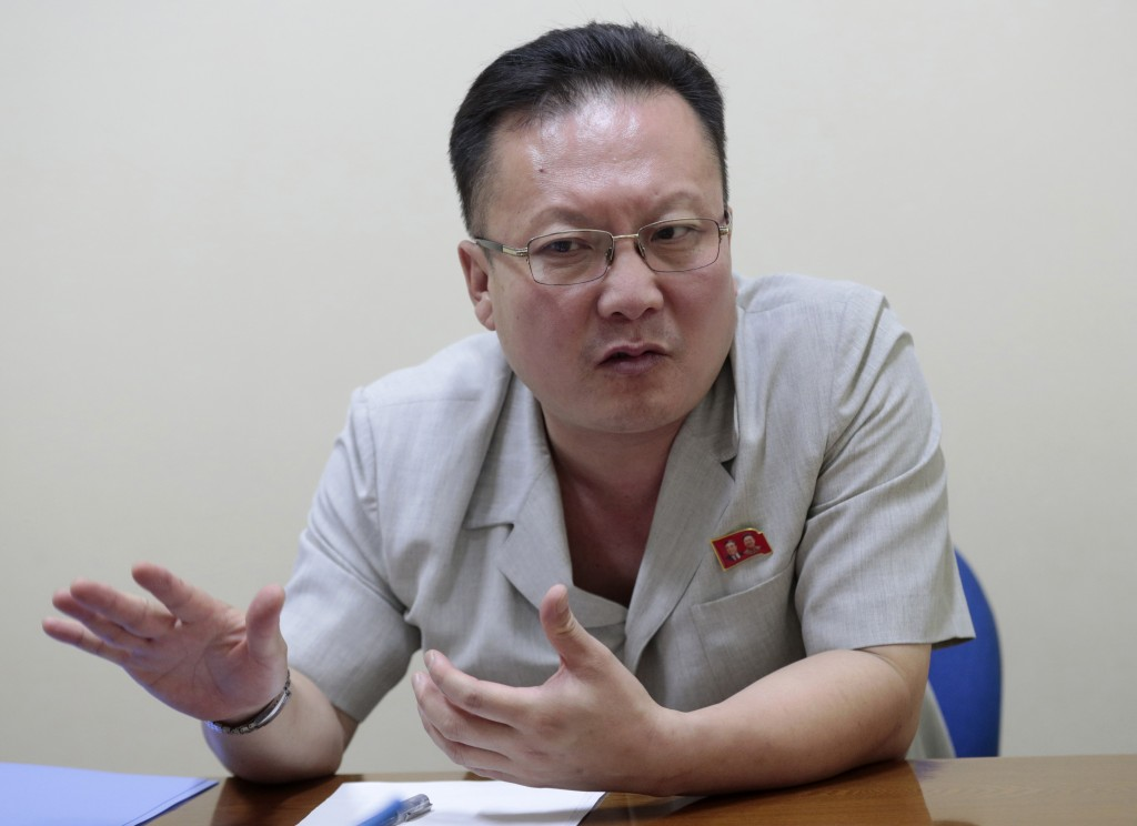 In this Sept. 12, 2019, photo, Kim Chang Kyong, Juche expert who is also the head of North Korean Social Scientists Association, speaks during an inte...