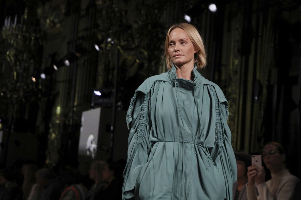 Model Amber Valletta wears a creation as part of the Stella McCartney Ready To Wear Spring-Summer 2020 collection, unveiled during the fashion week, i...