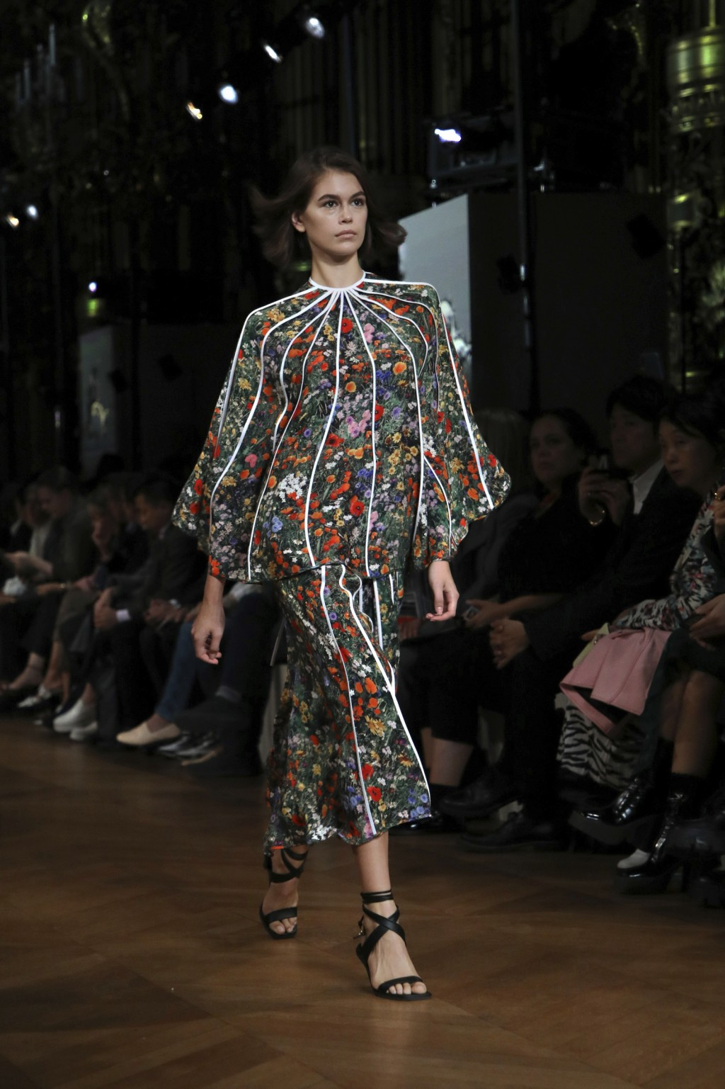 Model Kaia Gerber wears a creation as part of the Stella McCartney Ready To Wear Spring-Summer 2020 collection, unveiled during the fashion week, in P...
