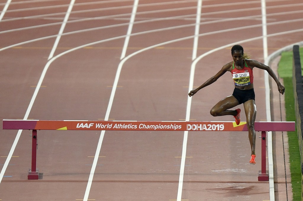 Beatrice Chepkoech, of Kenya,competes in the women's 3000 meter steeplechase final during the World Athletics Championships in Doha, Qatar, Monday, Se...