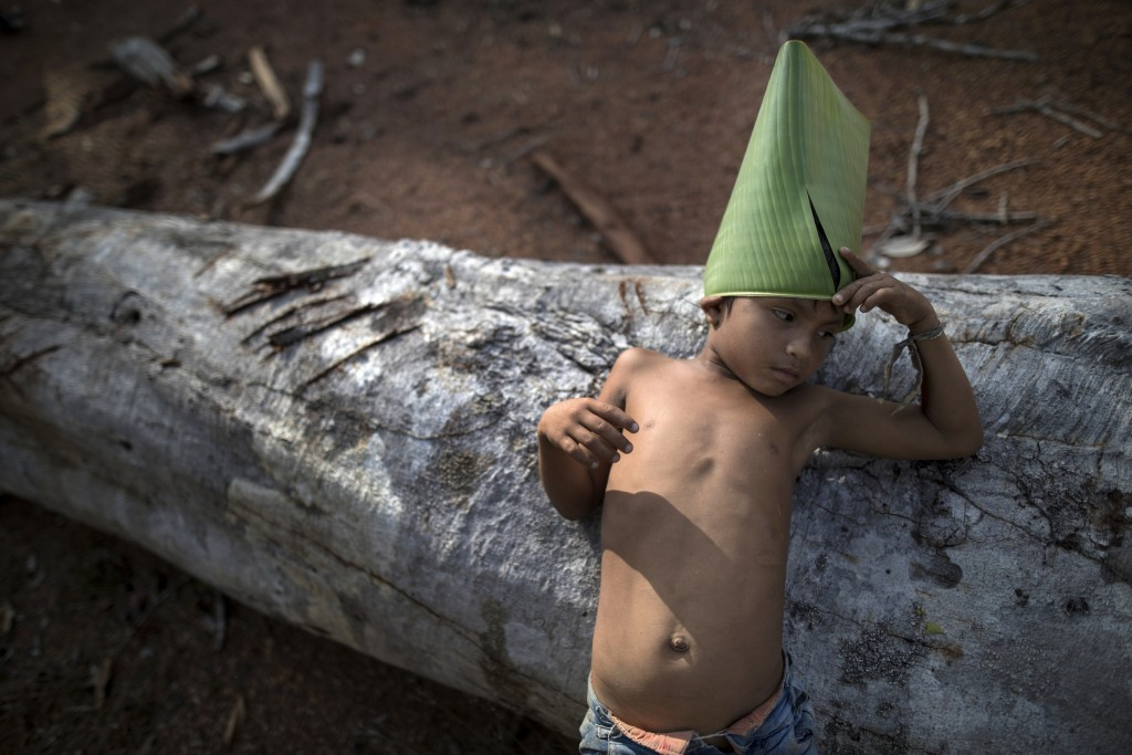 In this Sept. 2, 2019 photo, a Tembe child leans on a log as he holds on to a make-believe hat he constructed from a giant leaf, in the Ka 'a kyr vill...