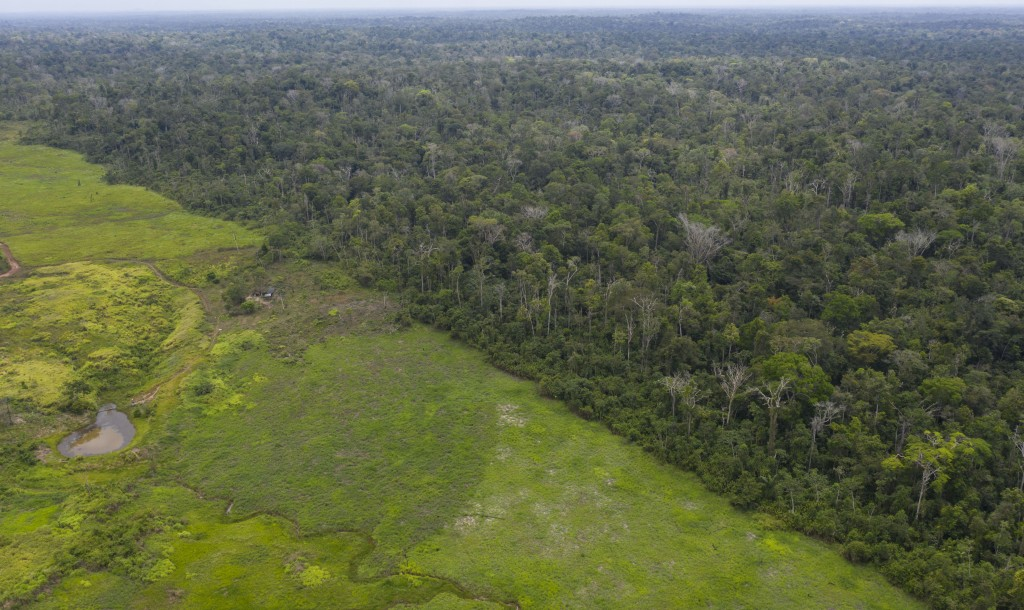 This Sept. 5, 2019 photo shows an aerial views of the lush Alto Rio Guama Indigenous Reserve saddled next to a deforested area owned by cattle rancher...