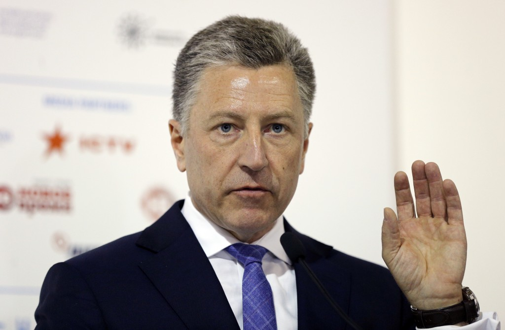FILE - In this Sept. 15, 2018 file photo, U.S. special representative to Ukraine Kurt Volker speaks during the 15th Yalta European Strategy (YES) annu...