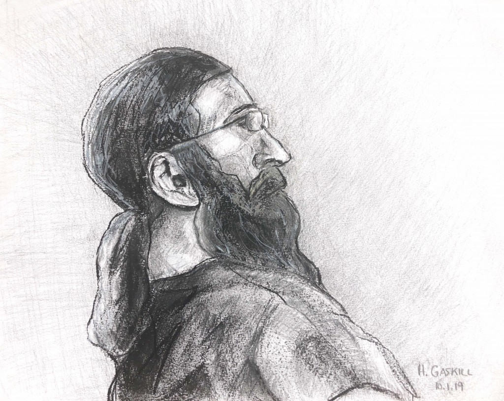 In this sketch made available by Capital News Service, Jarrod Ramos appears in Anne Arundle County Circuit Court Tuesday, Oct. 1, 2019 in Annapolis, M