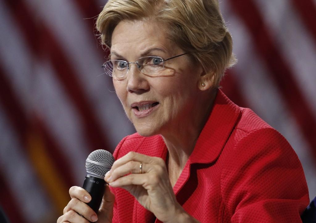 FILE - In this Oct. 2, 2019 file photo, Democratic presidential candidate Sen. Elizabeth Warren, D-Mass., speaks during a gun safety forum in Las Vega...