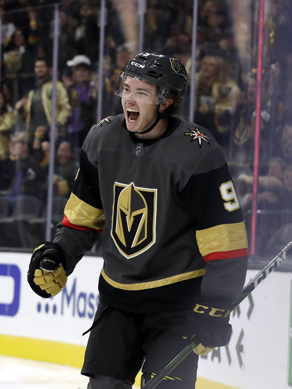 Vegas Golden Knights center Cody Glass reacts after scoring against the San Jose Sharks during the second period of an NHL hockey game Wednesday, Oct....