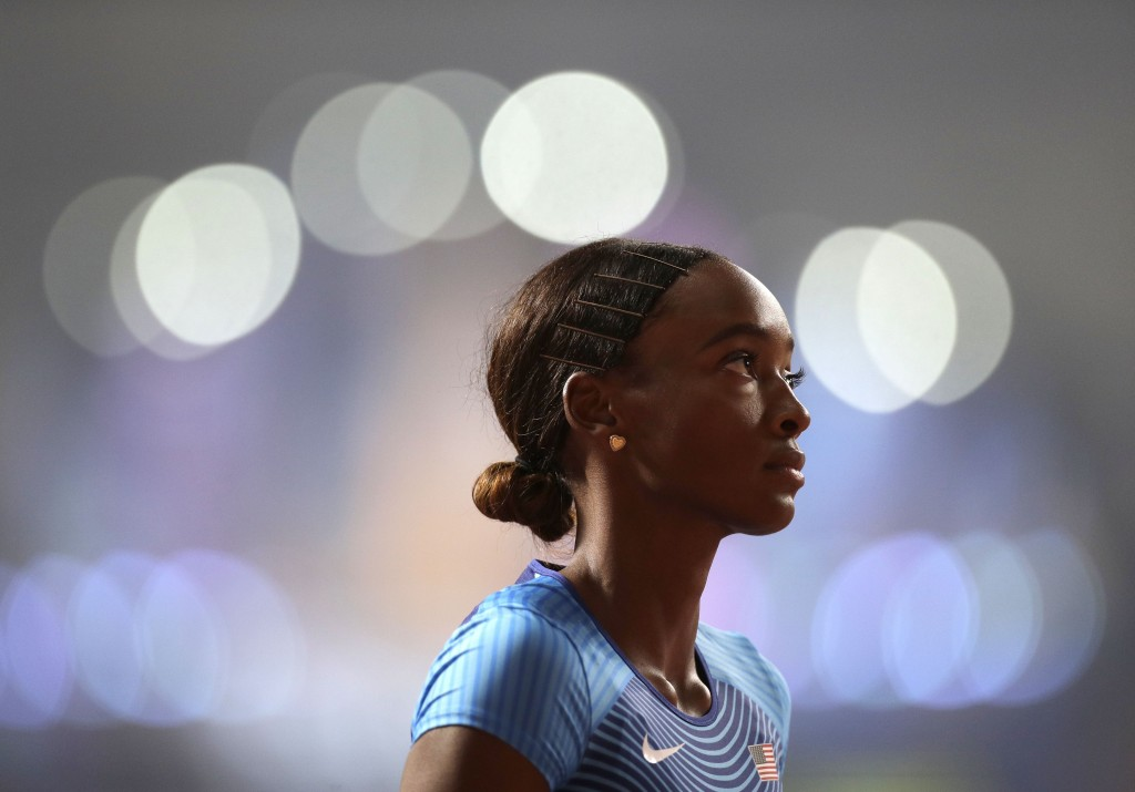 Dalilah Muhammad, of the United States prepares to race in a women's 400 meter hurdles semifinal at the World Athletics Championships in Doha, Qatar,
