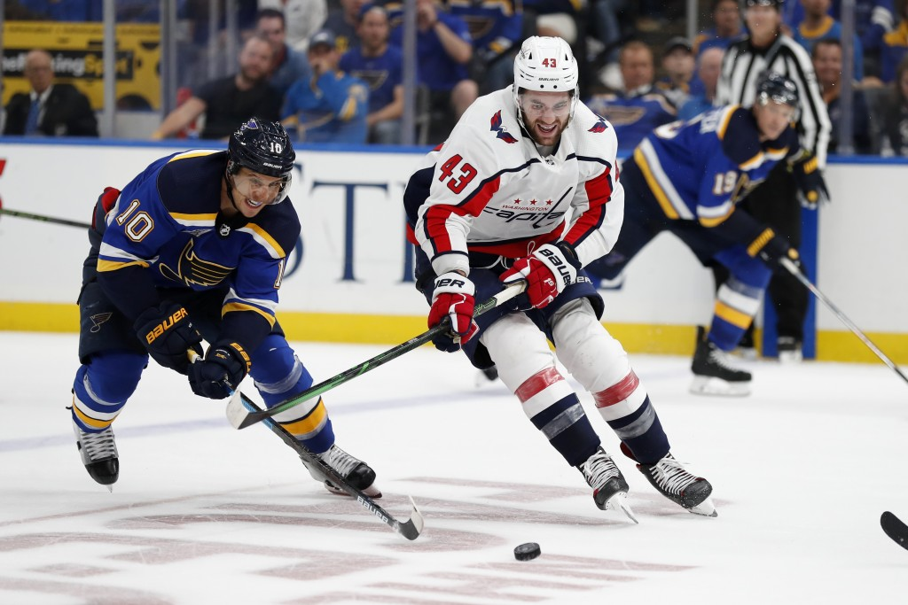 Washington Capitals' Tom Wilson (43) and St. Louis Blues' Brayden Schenn (10) reach for a loose puck during the third period of an NHL hockey game Wed