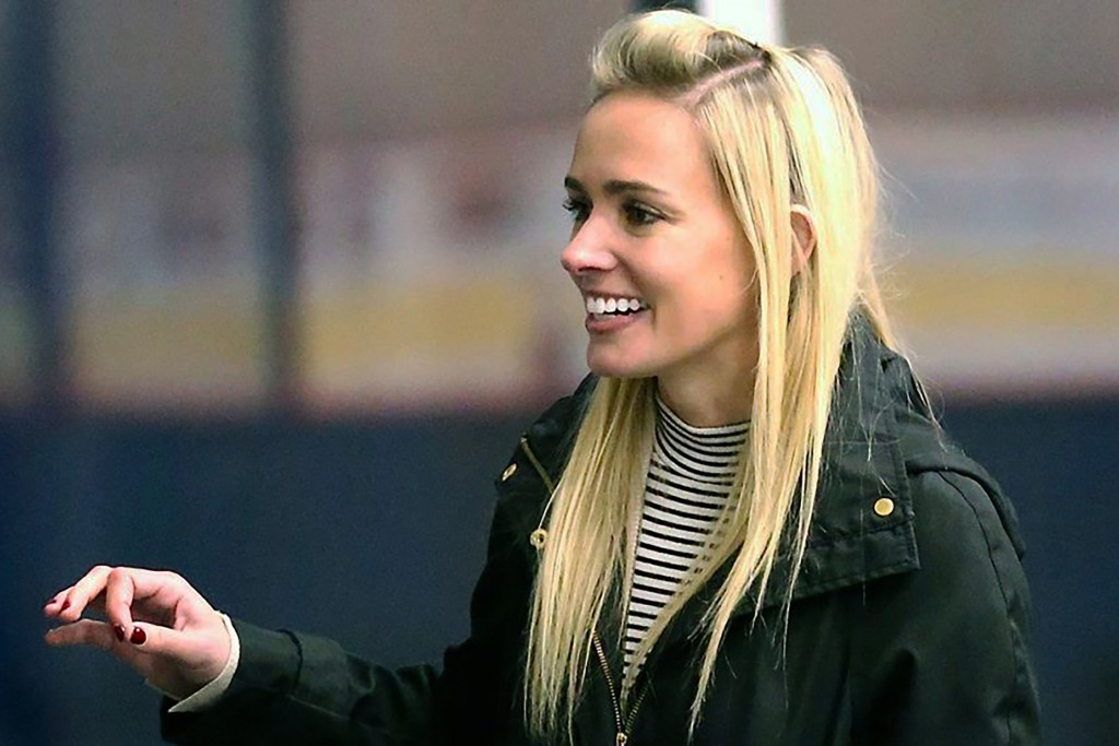 This October 2018 photo provided by the NWHL shows National Women's Hockey League founder Dani Rylan at TRIA Rink in St. Paul, Minn. Dani Rylan has a