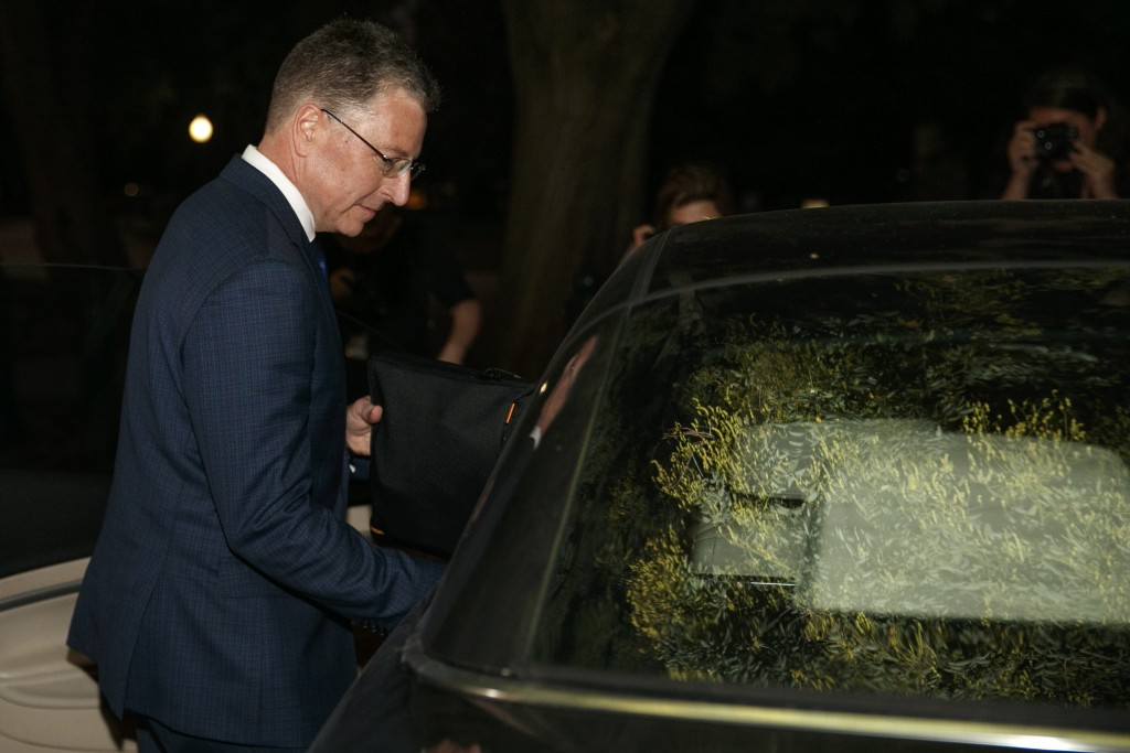 Kurt Volker, a former special envoy to Ukraine, gets in a car after leaves a closed-door interview with House investigators at the Capitol, Thursday, ...