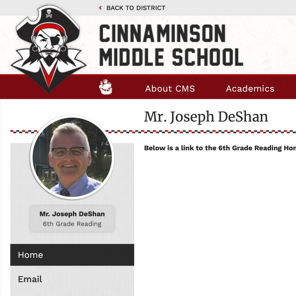 This Oct. 1, 2019 image made from the Cinnaminson, N.J., Middle School website shows part of a page for Joseph Michael DeShan. School administrators i...