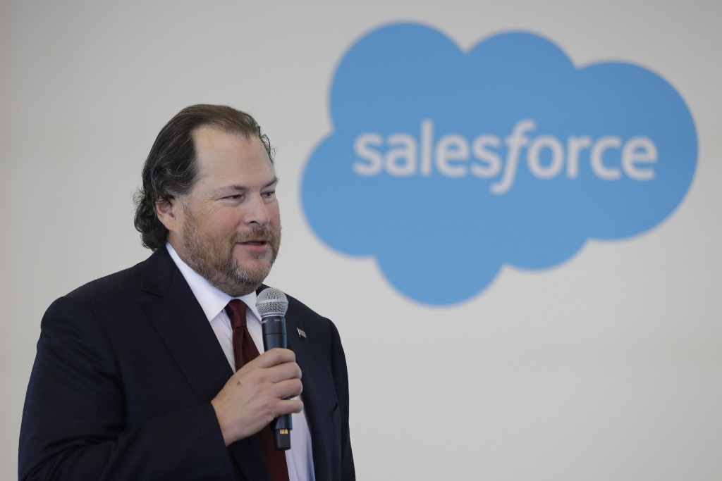 """FILE - In this May 16, 2019, file photo, Salesforce chairman Marc Benioff speaks during a news conference, in Indianapolis. In a forthcoming book, """"Tr..."""