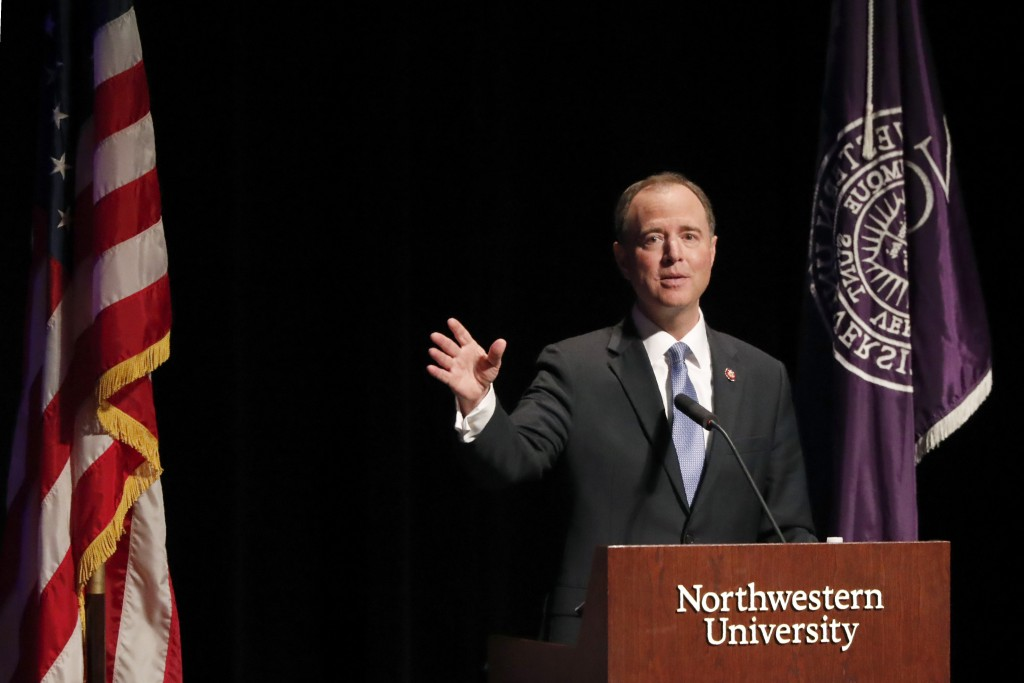 """California Congressman Adam Schiff delivers remarks titled """"The Threat to Liberal Democracy at Home and Abroad,"""" to the Leopold Lecture at Northwester..."""