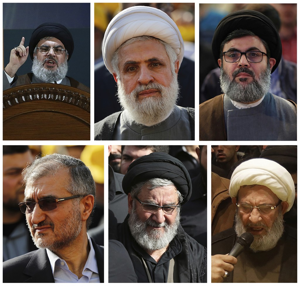 FILE - This combination of six portraits shows Hezbollah's senior leadership who the U.S. put under heavy sanctions in May 2018, from top left to righ...