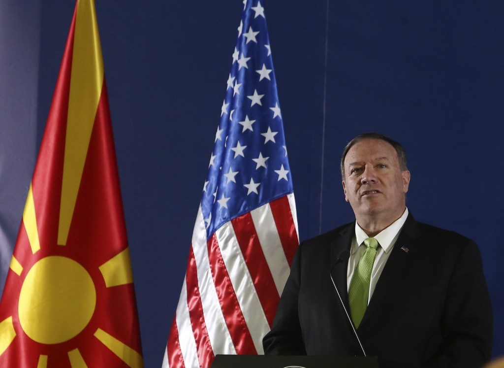 United States Secretary of State Mike Pompeo speaks during a press conference with North Macedonia's Prime Minister Zoran Zaev in Lake Ohrid, southern...