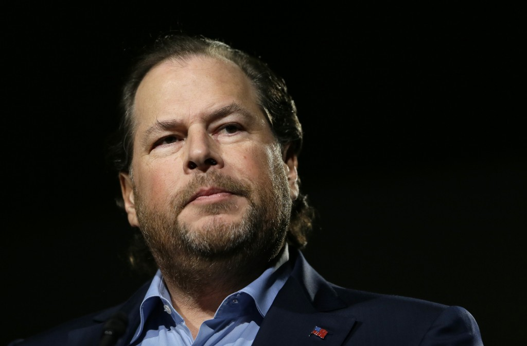 """FILE - In this photo taken Tuesday, Oct. 30, 2018, Salesforce CEO Marc Benioff speaks at a luncheon in San Francisco. In a forthcoming book, """"Trailbla..."""