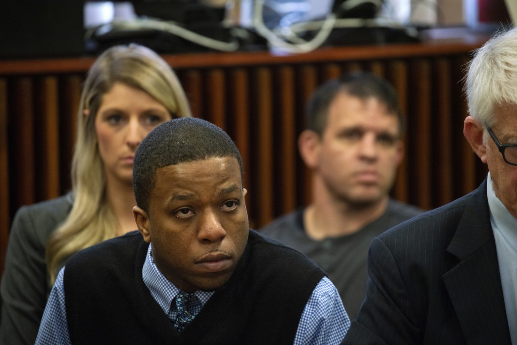 Corey Morgan listens during closing statements in his trial for the murder of 9-year-old Tyshawn Lee at the Leighton Criminal Court Building in Chicag...
