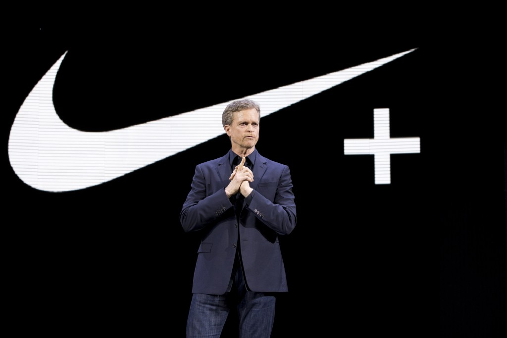 FILE - In this March 16, 2016, file photo Nike CEO Mark Parker speaks during a news conference in New York. Parker has found himself at the center of