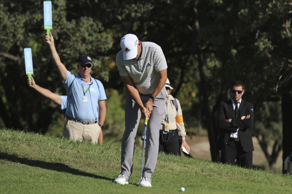 Spanish golf player Sergio Garcia competes during the second round of the Spanish Open golf tournament in Madrid, Spain, Friday, Oct. 4, 2019. (AP Pho