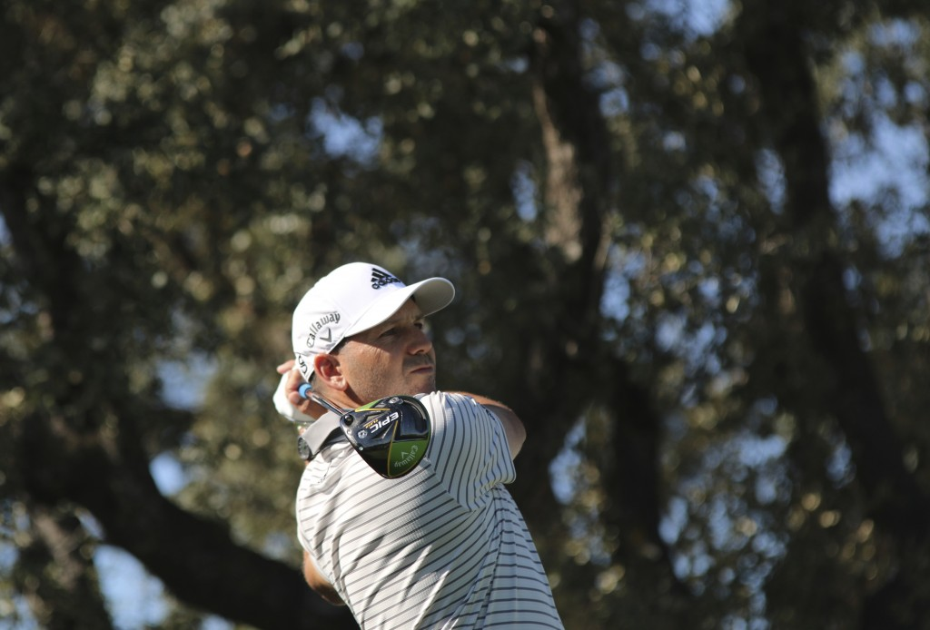 Spanish golf player Sergio Garcia competes during the second round of the Spanish Open golf tournament in Madrid, Spain, Friday, Oct. 4, 2019. (AP Pho...