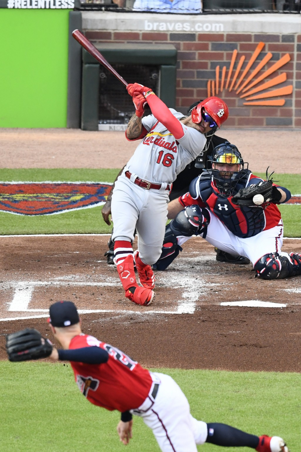 St. Louis Cardinals second baseman Kolten Wong (16) strikes out in the second inning during Game 2 of a best-of-five National League Division Series a...