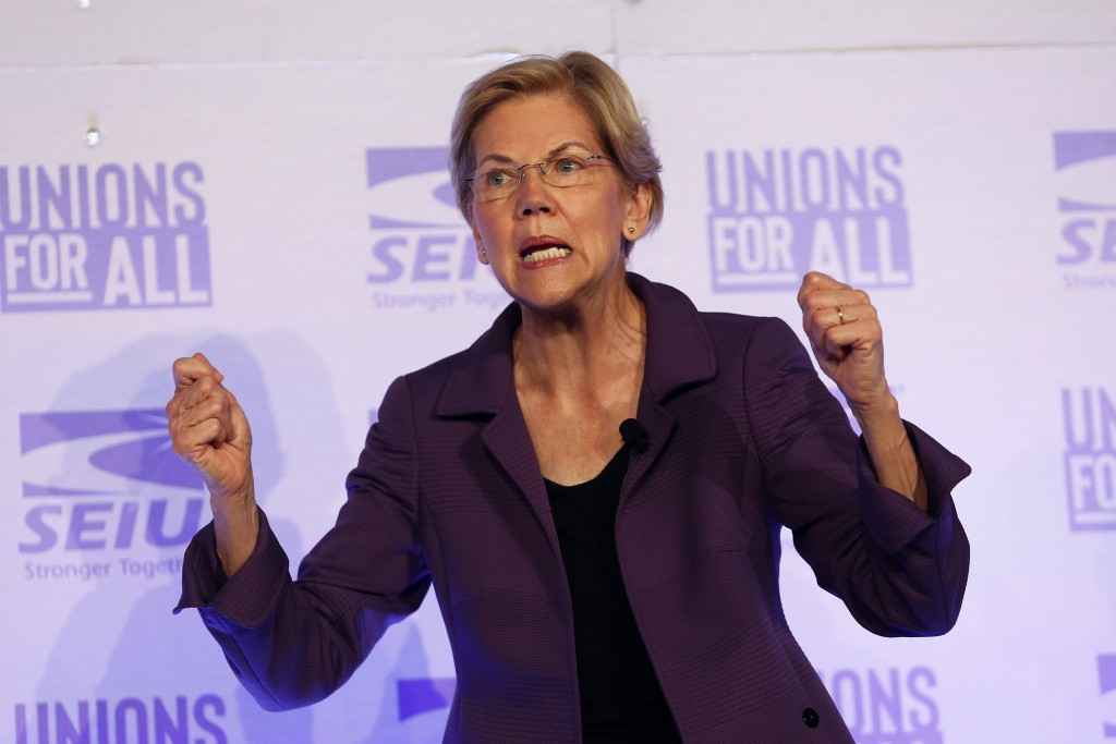 FILE - In this Oct. 4, 2019 file photo, Democratic presidential candidate Sen. Elizabeth Warren, D-Mass., speaks at the SEIU Unions For All Summit in ...