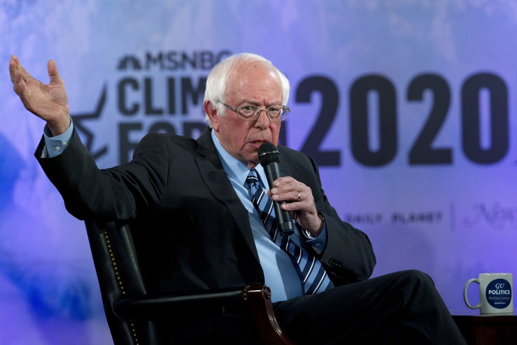 FILE - In this Sept. 19, 2019 file photo, Democratic presidential candidate Sen. Bernie Sanders, I-Vt., speaks during the Climate Forum at Georgetown