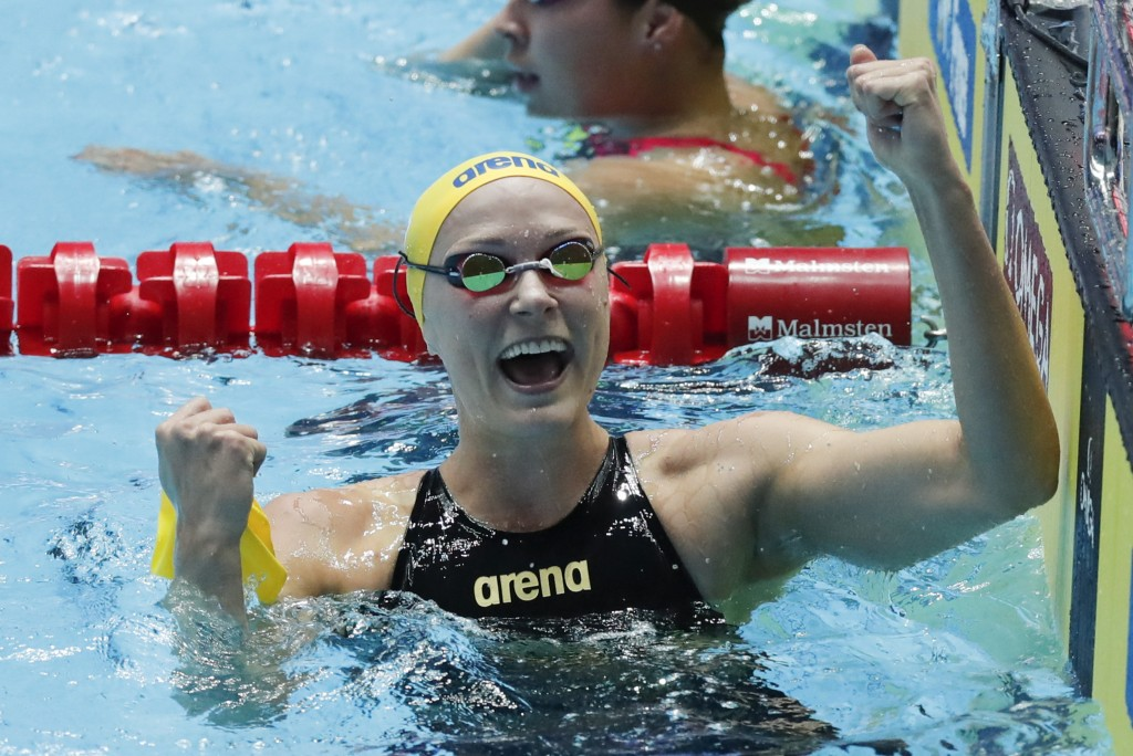 FILE - In this July 26, 2019, file photo, Sweden's Sarah Sjostrom gestures after a women's 50m butterfly semifinal at the World Swimming Championships