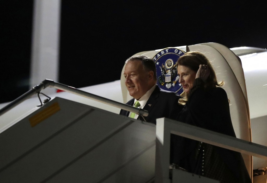 U.S. Secretary of State Mike Pompeo and his wife Susan arrive at the Athens Eleftherios Venizelos International Airport on Friday, Oct. 4, 2019. Pompe...