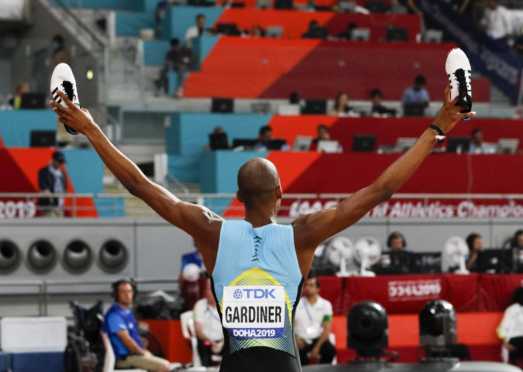 Steven Gardiner, of Bahamas, reacts after winning the men's 400 meter finals at the World Athletics Championships in Doha, Qatar, Friday, Oct. 4, 2019...