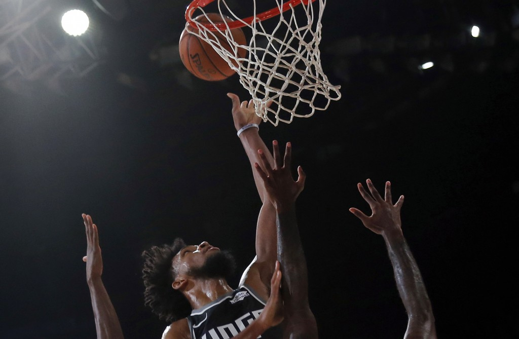 Sacramento Kings player Marvin Bailey III plays against Indiana Pacers during the NBA India Games 2019, in Mumbai, India, Saturday, Oct. 5, 2019. (AP ...