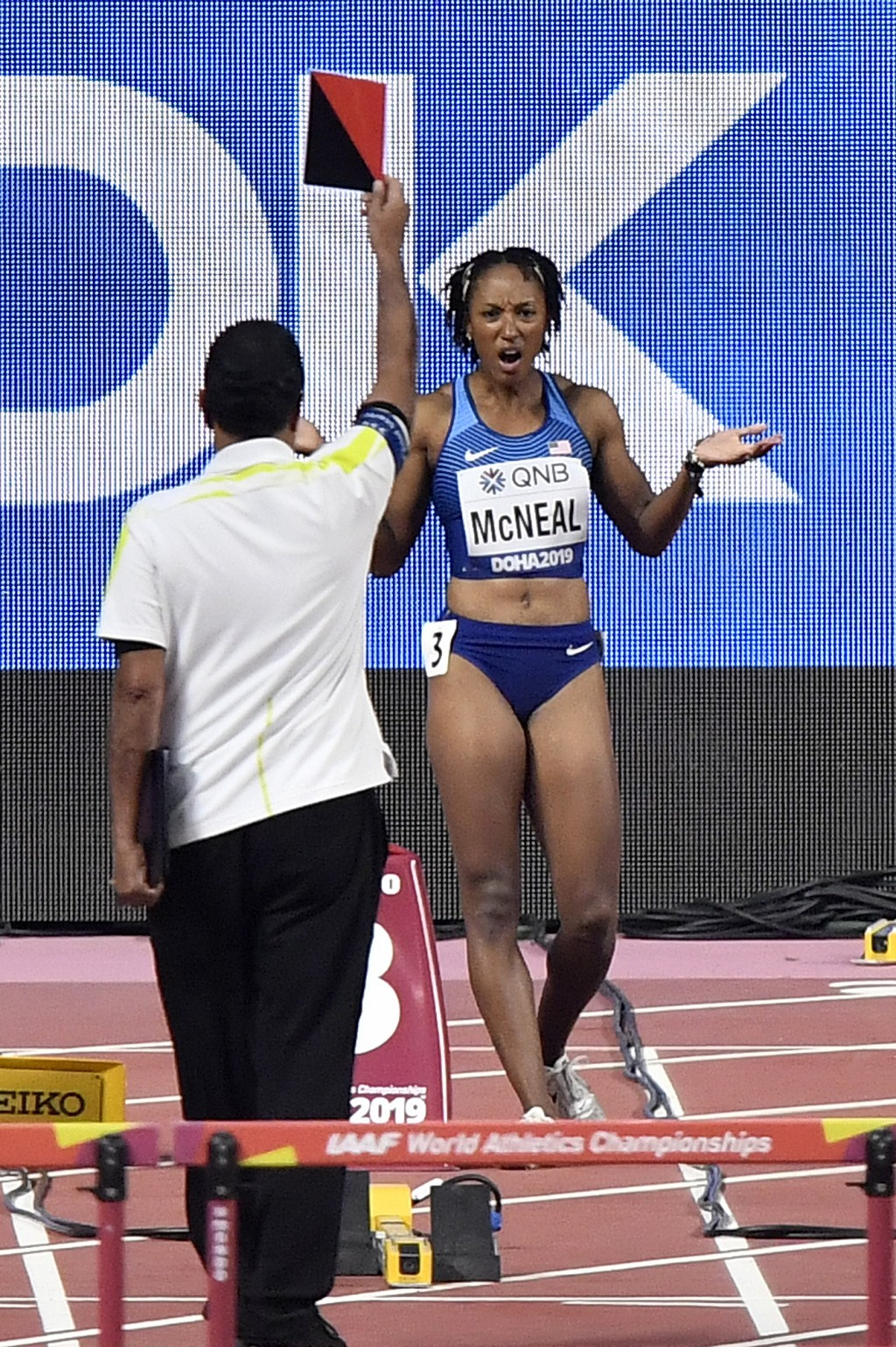 Brianna Mcneal, of the United States, is disqualified after a false start in the women's 100 meter hurdles heats during the World Athletics Championsh...