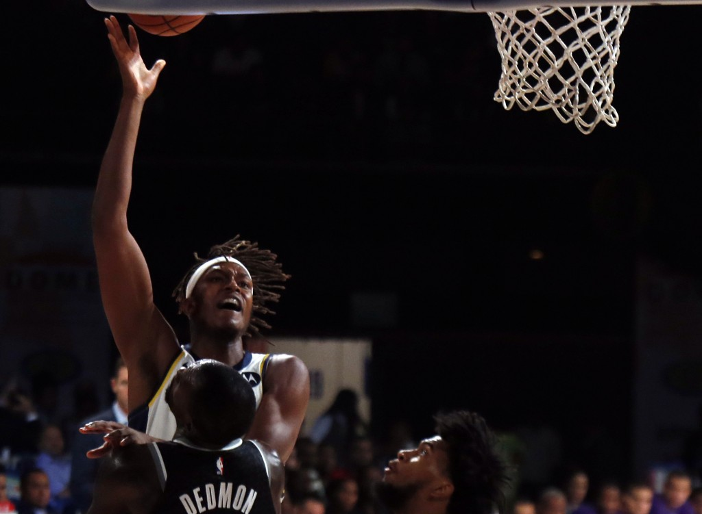 Indiana Pacers player Myles Turner plays against Sacramento Kings at the NBA India Games 2019, in Mumbai, India, Saturday, Oct. 5, 2019. (AP Photo/Raj...