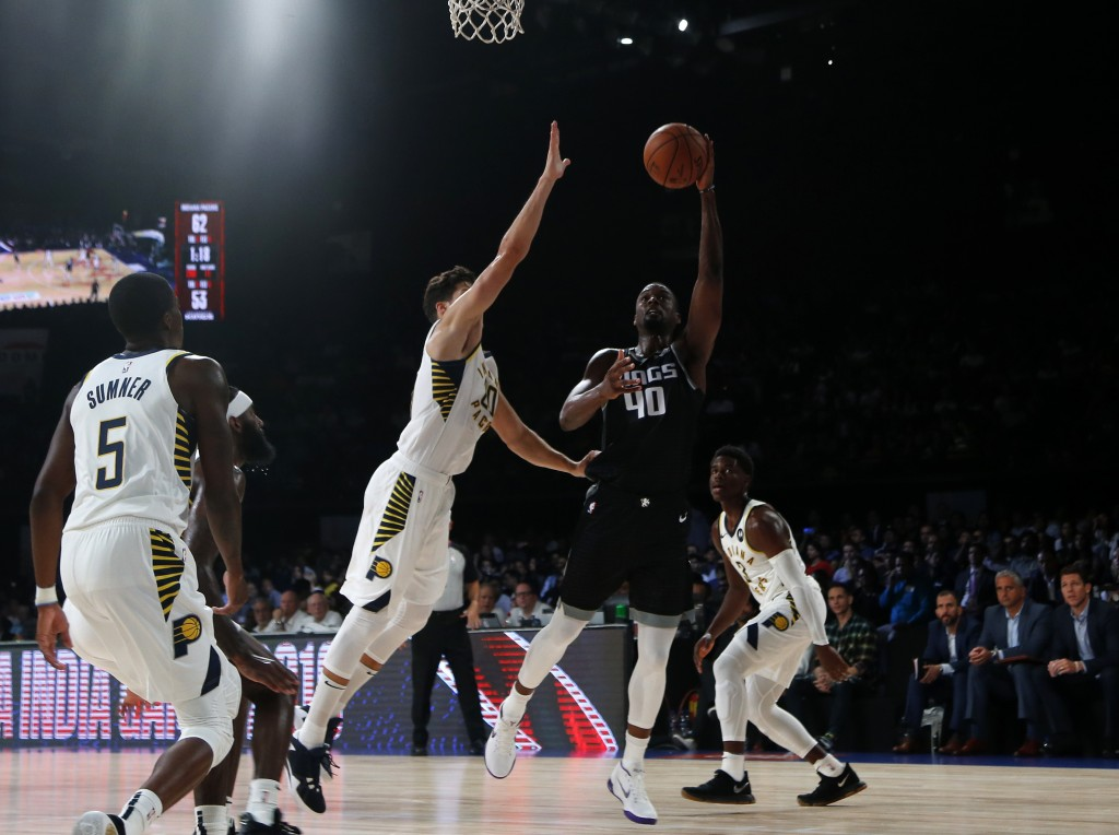 Sacramento Kings' Harrison Barnes plays against Indiana Pacers during the NBA India Games 2019, in Mumbai, India, Saturday, Oct. 5, 2019. (AP Photo/Ra...