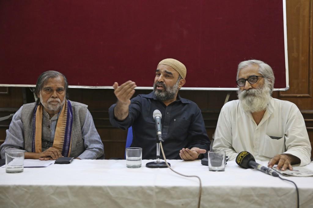 Social activist Faisal Khan of Khudai Khidmatgar, an organization founded by freedom fighter Khan Abdul Gaffar Khan, addresses a press conference seat